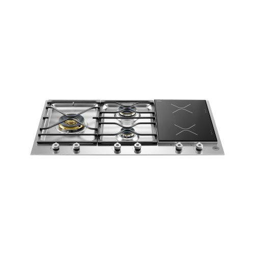 36 Segmented Cooktop 3-burner and 2 induction zones Stainless Steel