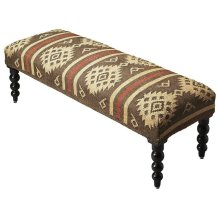 Bring home sophistication with the Navajo Jute Upholstered Bench. This beautiful bench has a comforting design that helps you to relax while you rest on it. The round legs and padded seat adds to its overall beauty and functionality; this piece is sturdy