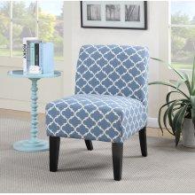 Parma Blue Quatrefoil Slipper Accent Chair