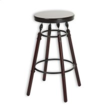 Boston Wood Counter Stool with Dark Cherry Backless Seat and Charcoal Metal Finish, 26-Inch