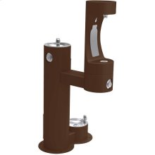 Elkay Outdoor EZH2O Bottle Filling Station Bi-Level, Pedestal with Pet Station Non-Filtered Non-Refrigerated Brown
