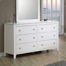 Selena Contemporary White Six-drawer Dresser