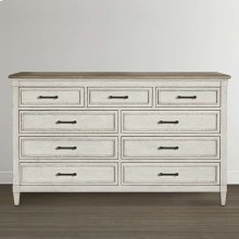 Bella 9 Drawer Wood Top Dresser
