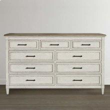 Bella 9 Drawer Wood Top Dresser