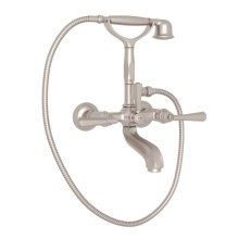 Satin Nickel Palladian Exposed Tub Set With Handshower with Metal Lever