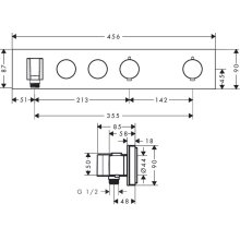 Polished Brass Thermostatic module Select 460/90 for concealed installation for 2 functions