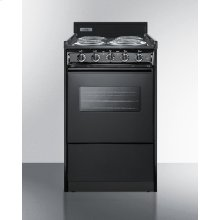 "20"" Wide Electric Range In Black With Oven Window, Interior Light, and Lower Storage Compartment"