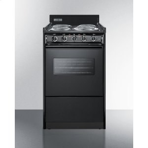 "Summit20"" Wide Electric Range In Black With Oven Window, Interior Light, and Lower Storage Compartment"