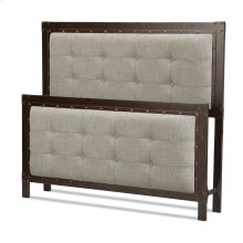 Gotham Bed with Dark Latte Upholstered Metal Panels and Antique Industrial Studs, Brushed Copper Finish, Queen