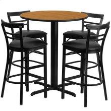 24'' Round Natural Laminate Table Set with 4 Ladder Back Metal Barstools - Black Vinyl Seat