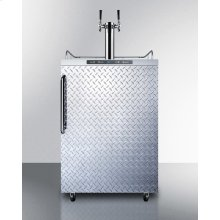 Freestanding Residential Outdoor Beer Dispenser, Auto Defrost With Digital Thermostat, Stainless Steel Wrapped Cabinet, Diamond Plate Door, Towel Bar Handle, and Dual Tap System