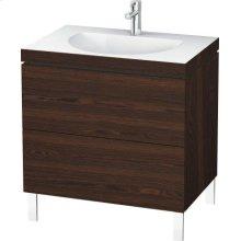 Furniture Washbasin C-bonded With Vanity Floorstanding, Brushed Walnut (real Wood Veneer)