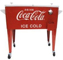 80QT RETRO COCA-COLA COOLER (ICE COLD) - WHITE LID & HANDLES