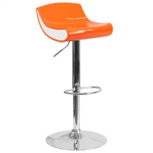 Contemporary Orange and White Adjustable Height Plastic Barstool with Chrome Base