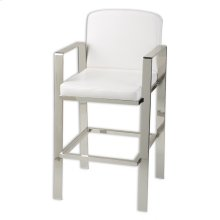 Juneau Metal Barstool with White Upholstered Seat and Nickel Frame Finish, 30-Inch
