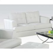 White Bonded Leather Loveseat Product Image