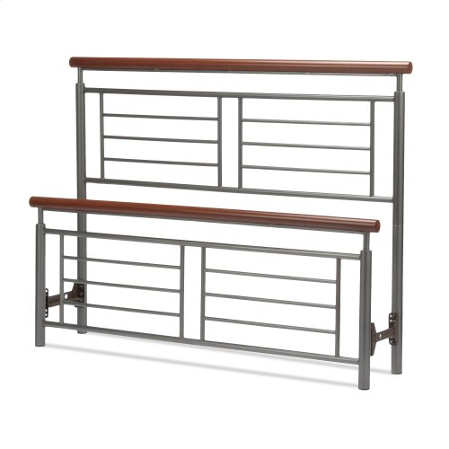 Fontane Metal Headboard and Footboard Bed Panels with Geometric Grills and Rounded Cherry Wood Color Top Rails, Silver Finish, California King