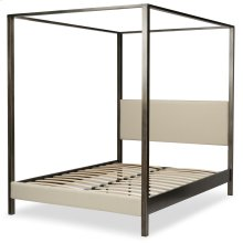 Avalon Canopy Platform Bed with Platinum Upholstered Headboard and 80-Inch Bed Posts, Slate Finish, King