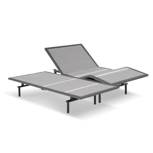 Raven Low-Profile Adjustable Bed Base with Simultaneous Movement and Wireless Flashlight Remote, Charcoal Gray Finish, Split Queen