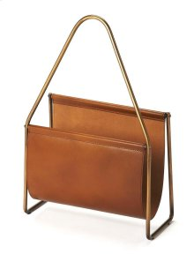 This generously sized magazine basket is great for organizing or decorating. A masterwork of leather handmade by skilled artisans, this magazine holder is sure to look stunning in any room of the house. Made of genuine leather, it is accented with an ant