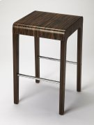 Enhance your kitchen, bar or work space with this modern bentwood counter stool. Its ebony veneer surface and waterfall front edge is attractively complemented by a chrome plated steel tube stretcher. Product Image