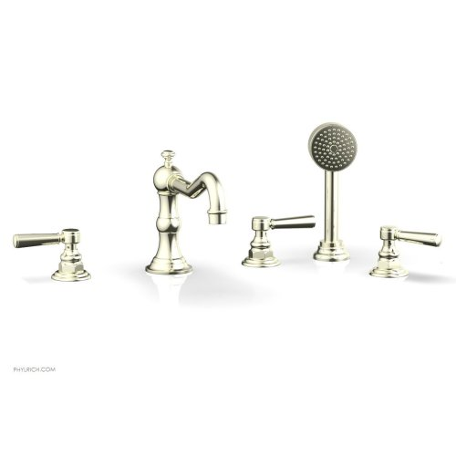 HENRI Deck Tub Set with Hand Shower with Lever Handles 161-49 - Burnished Nickel