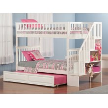 Woodland Staircase Bunk Bed Twin over Twin with Raised Panel Trundle Bed in White