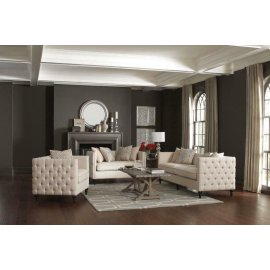 Claxton Traditional Oatmeal Tufted Two-piece Living Room Set