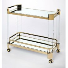 Make a statement to all with the cutting-edge contemporary designs of the functional and beautiful serving cart. This is an entertaining essential for all visiting guests or a simple night at home. Crafted from clear acrylic and stainless steel finished i