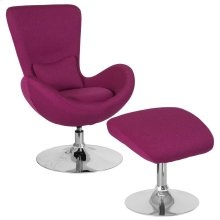 Magenta Fabric Side Reception Chair with Ottoman