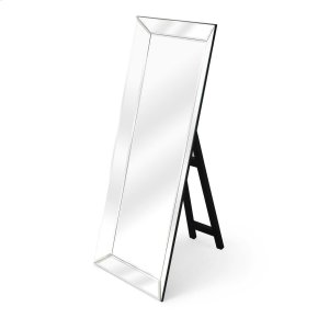This dramatic mirror framed in mirror with a simple black easel stand is bound to add glamour to the boudoir or any other dressing space. Crafted from select wood solids and wood products, it features clear beveled edge mirrored glass. Smile when you get