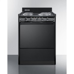 "Summit24"" Wide Electric Range In Black With Lower Storage Compartment"