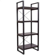Charcoal Wood Grain Finish Bookshelf with Black Metal Frame