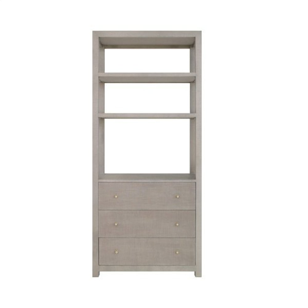 Three Drawer Etagere In Grey Grasscloth With Grey Linen Drawers and Brass Hardware