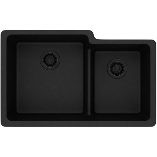 "Elkay Quartz Classic 33"" x 20-1/2"" x 9-1/2"", Offset 60/40 Double Bowl Undermount Sink with Aqua Divide, Black"