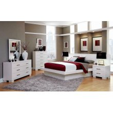 Jessica Contemporary White Queen Bed