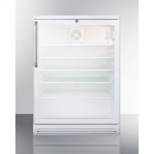 """Commercially Listed 5.5 CU.FT. Counter Height Beverage Center In A 24"""" Footprint, With White Cabinet, Glass Door, Towel Bar Handle, and Lock"""