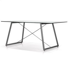 Ander Rectangular White Glass Top Dining Table