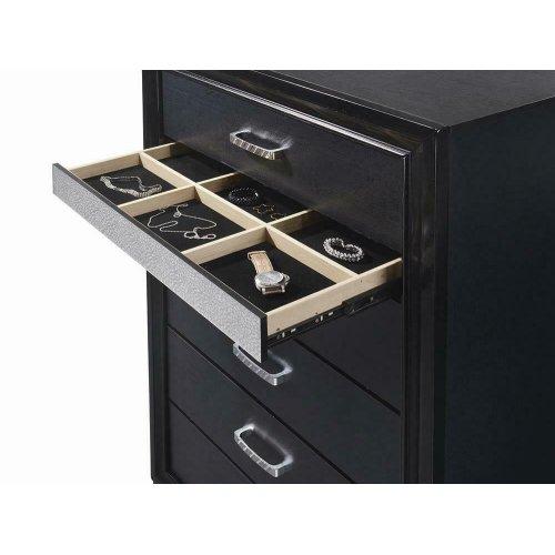 Miranda Transitional Black Five-drawer Chest
