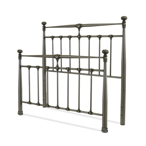 Kensington Metal Headboard and Footboard Bed Panels with Stately Posts and Detailed Castings, Vintage Silver Finish, King