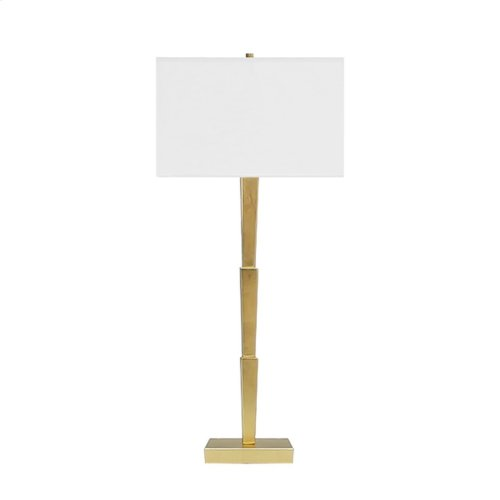 Three Tier Table Lamp In Gold Leaf With Square White Linen Shade - Ul Approved for One 60 Watt Bulb