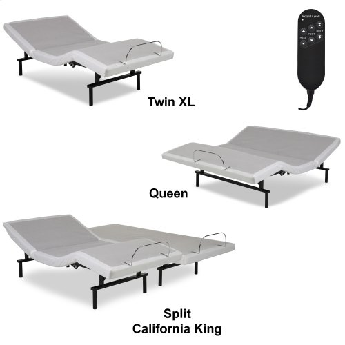 Vibrance Adjustable Bed Base with Head and Foot Articulation, White Finish, Split California King