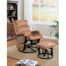 Casual Brown Reclining Glider With Matching Ottoman