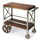 """Serve guests in style with this modern industrial trolley cart. Forged from iron, its frame has a zinc silver finish with stylish """"X side panels, and the mango wood top and bottom shelf have a vintage butcher block look in a clove brown finish. Use it for Product Image"""