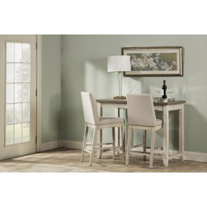 Hillsdale FurnitureClarion 3-piece Counter Height Side Dining Set With Parson Stools - Distressed Gray Top With Sea Whi