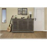 """67"""" Console w/4 push doors, Mango wood, gray finish Product Image"""
