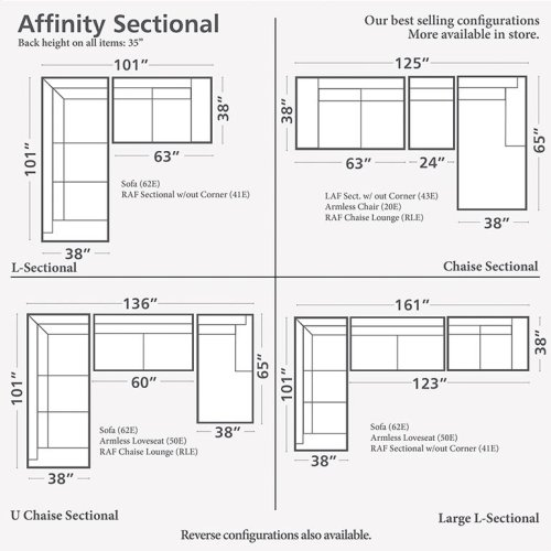 3 Seats on Right/Affinity Sand Affinity Large L-Shaped Sectional