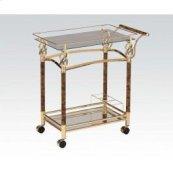 Gold Serving Cart W/clr Glas