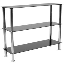Black Glass Storage Shelves with Stainless Steel Frame