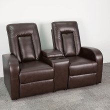 2-Seat Push Button Motorized Reclining Brown Leather Theater Seating Unit with Cup Holders